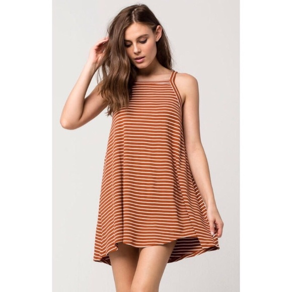 2321ad427ed4 RVCA Dresses | Burnt Orange Striped Ribbed Knit Swing Dress | Poshmark